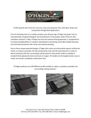 Ohagin Attic Vents - Ventilation Solutions