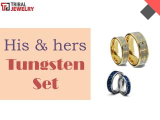 His & hers Tungsten Set - Tribal Jewelry