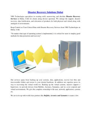 Disaster Recovery Solutions in Dubai