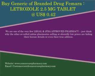 Buy Femara - Letrozole 2.5 Mg Tablet @ Us$ 0.42