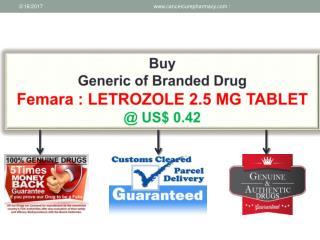 Buy Femara - Letrozole 2.5 Mg Tablet @ Us$ 0.42