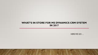Dynamics CRM System 2017
