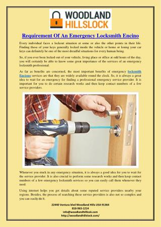 Requirement Of An Emergency Locksmith Encino
