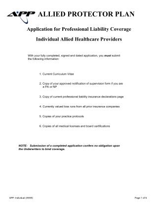 Application for Professional Liability Coverage - Individual Allied Healthcare Providers