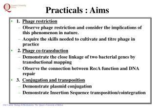 Practicals : Aims