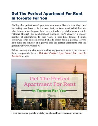 Get The Perfect Apartment For Rent In Toronto For You