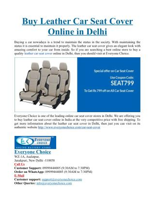 Buy Leather Car Seat Cover Online in Delhi