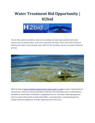 Water Treatment Bid Opportunity | H2bid