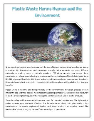 Plastic Waste Harms Human and the Environment