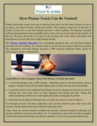 How Plantar Fascia Can Be Treated?