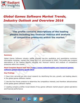Global Games Software Market Segments, Overview and Forecasts 2021
