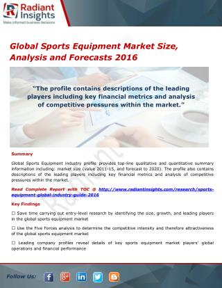 Global Sports Equipment Market Trends and Growth Report 2016