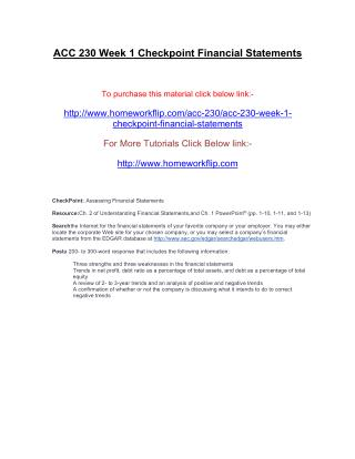 ACC 230 Week 1 Checkpoint Financial Statements