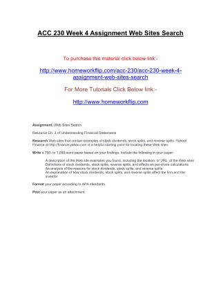 ACC 230 Week 4 Assignment Web Sites Search