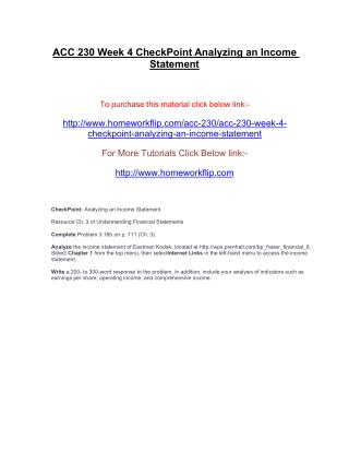ACC 230 Week 4 CheckPoint Analyzing an Income Statement