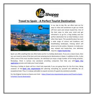 Travel to Spain - A Perfect Tourist Destination