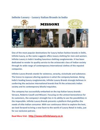 Infinite Luxury - Luxury Italian Brands in India