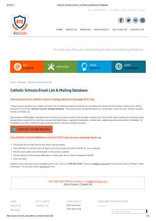 Catholic Schools Mailing List