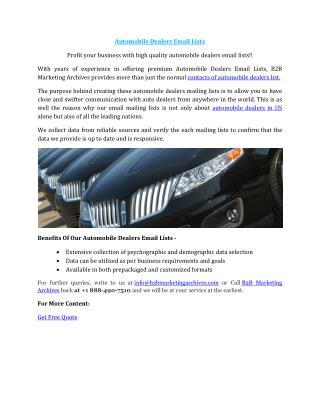 Automobile Dealers Email Lists - B2B Marketing Archives