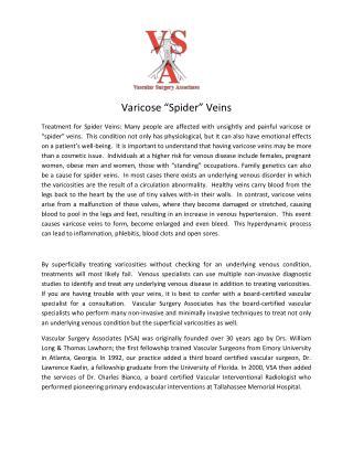 Vascular Surgery Association - Varicose spider