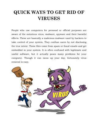 QUICK WAYS TO GET RID OF VIRUSES