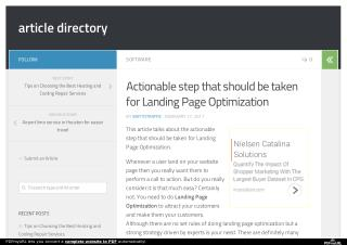 Actionable step that should be taken for Landing Page Optimization