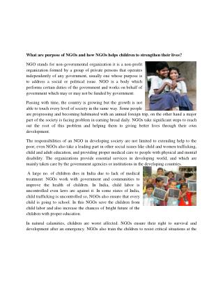 What are purpose of NGOs and how NGOs helps children to strengthen their lives?