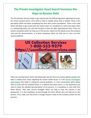 The Private Investigator Asset Search Increases the Hope to Receive Debt