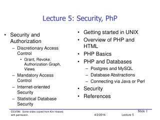 Lecture 5: Security, PhP