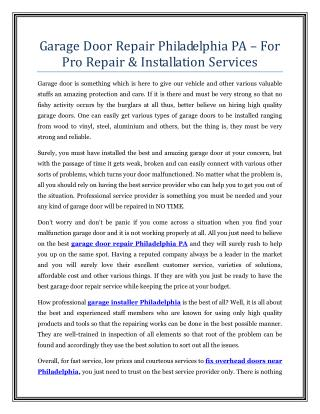 Garage Door Repair Philadelphia PA – For Pro Repair & Installation Services