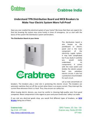 Understand TPN Distribution Board and MCB Breakers to Make Your Electric System More Full-Proof