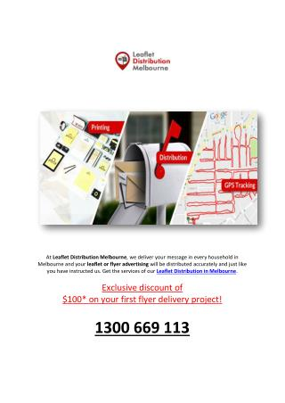 Get Advertising Letterbox and Leaflet Distribution in Melbourne to Every Household