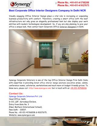 Best Corporate Office Interior Designers Company In Delhi NCR