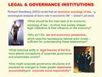 LEGAL  GOVERNANCE INSTITUTIONS