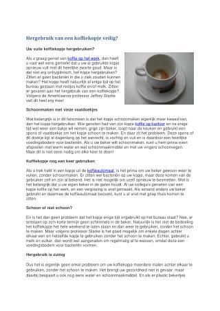 Hergebruik van een koffiekopje veilig?