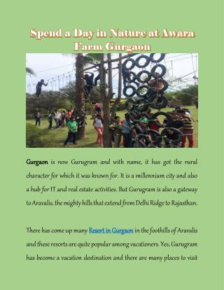 Spend a Day in Nature at Awara Farm Gurgaon