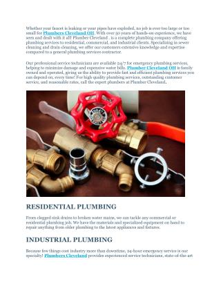 Plumbers Cleveland OH