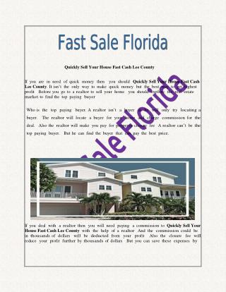 Quickly Sell Your House Fast Cash Lee County