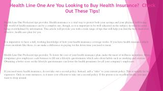 Health Line One Keep These Tips in Mind When Choosing Your Health Insurance Plans