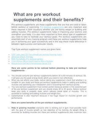 What are pre workout supplements and their benefits?