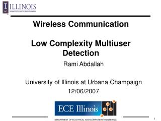 Wireless Communication  Low Complexity Multiuser Detection