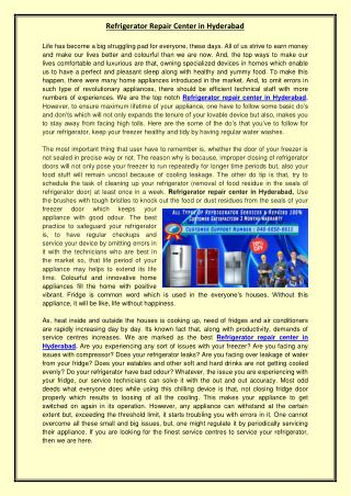 Refrigerator Repair Center in Hyderabad