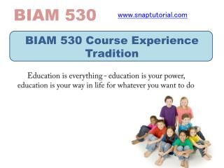 BIAM 530 Course Experience Tradition/snaptutorial.com