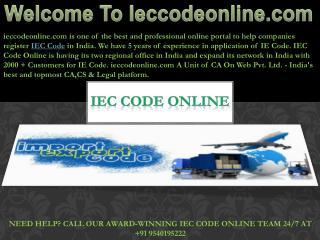 Register Import Export Code online in India