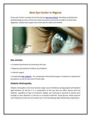 Best Eye Center in Nigeria