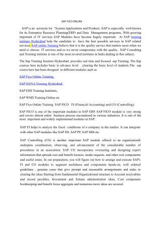 Sap courses in Hyderabad,India, Australia,USA