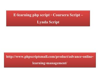 E-learning php script - Coursera Script - Lynda Script