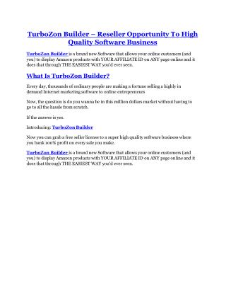 TurboZon Builder Review-(Free) bonus and discount