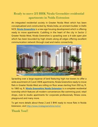 Ready to move 2/3 BHK Nirala Greenshire residential apartments in Noida Extension