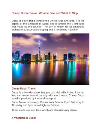 Cheap Dubai Travel: What to See and What to Skip